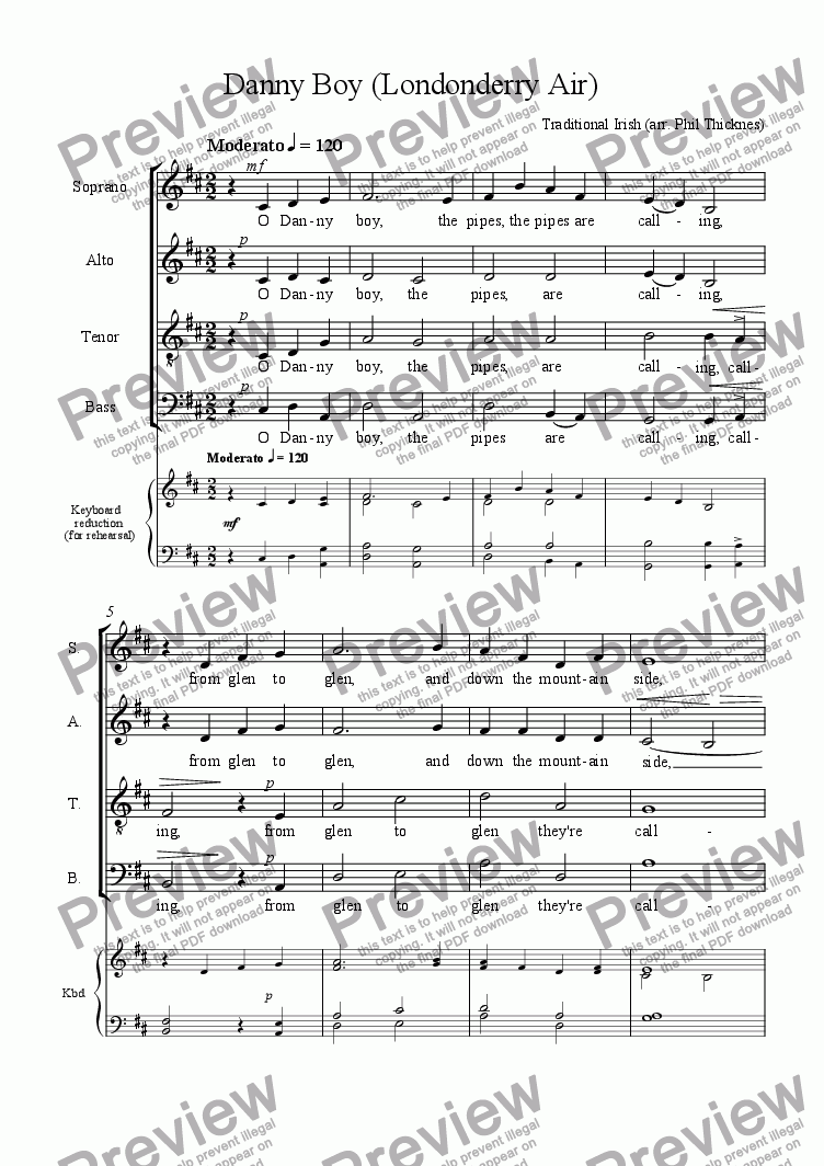 Danny Boy (SATB) for Choir by Traditional Irish - Sheet Music PDF file to  download