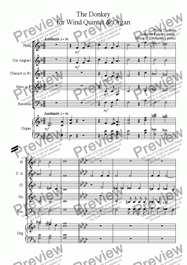 page one of The Donkey for Wind Quintet & Organ