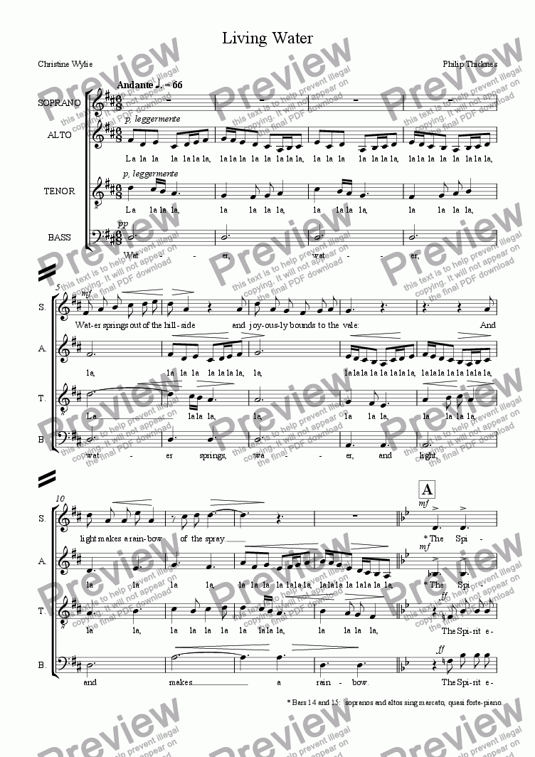 page one of Living Water (SATB)
