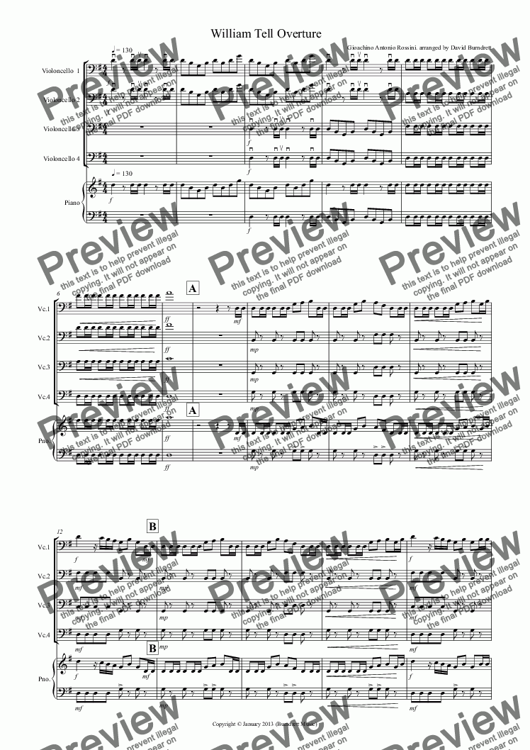 page one of William Tell Overture for Cello Quartet