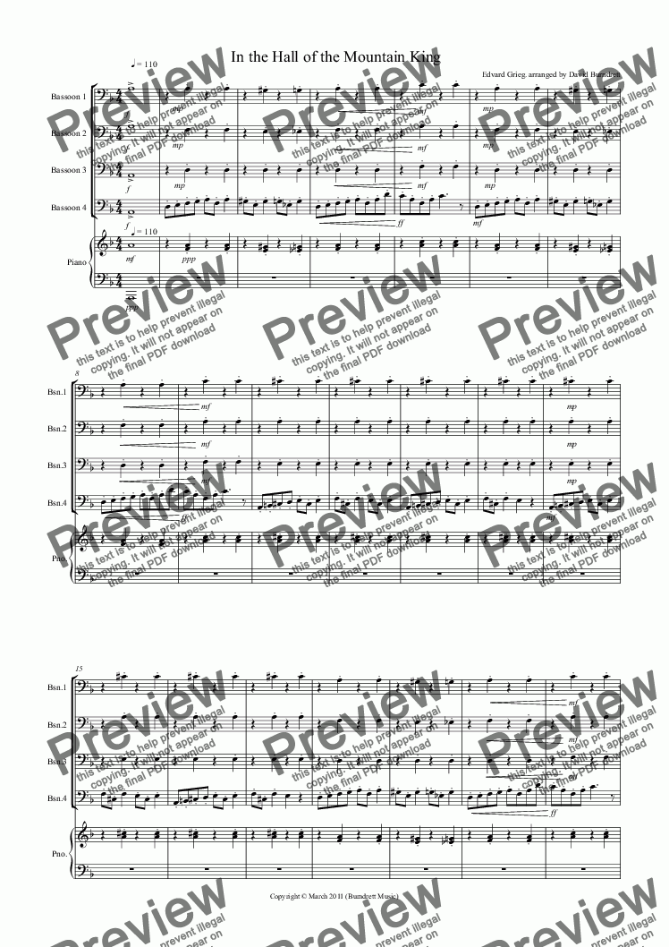 page one of In the Hall of the Mountain King for Bassoon Quartet