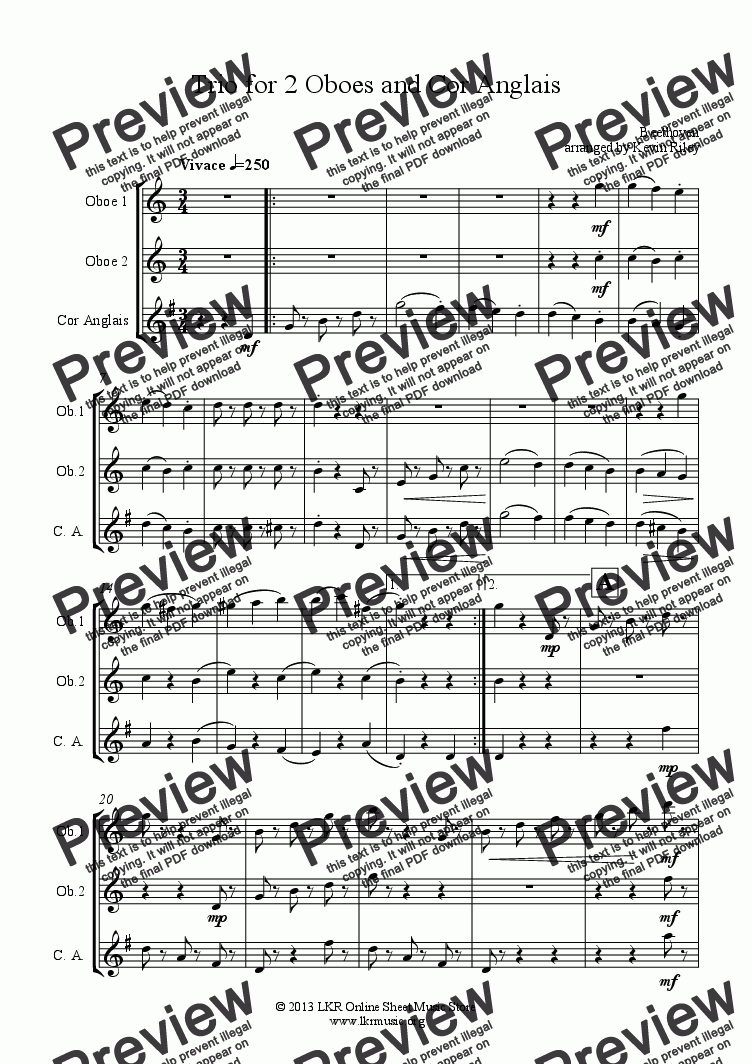 page one of Trio for 2 Oboes and Cor Anglais