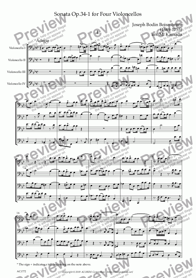 page one of Sonata Op.34-1 for Four Violoncellos