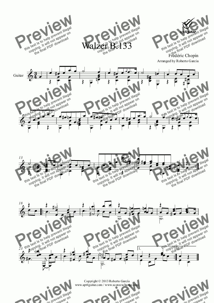 page one of Walzer B.133 for solo guitar
