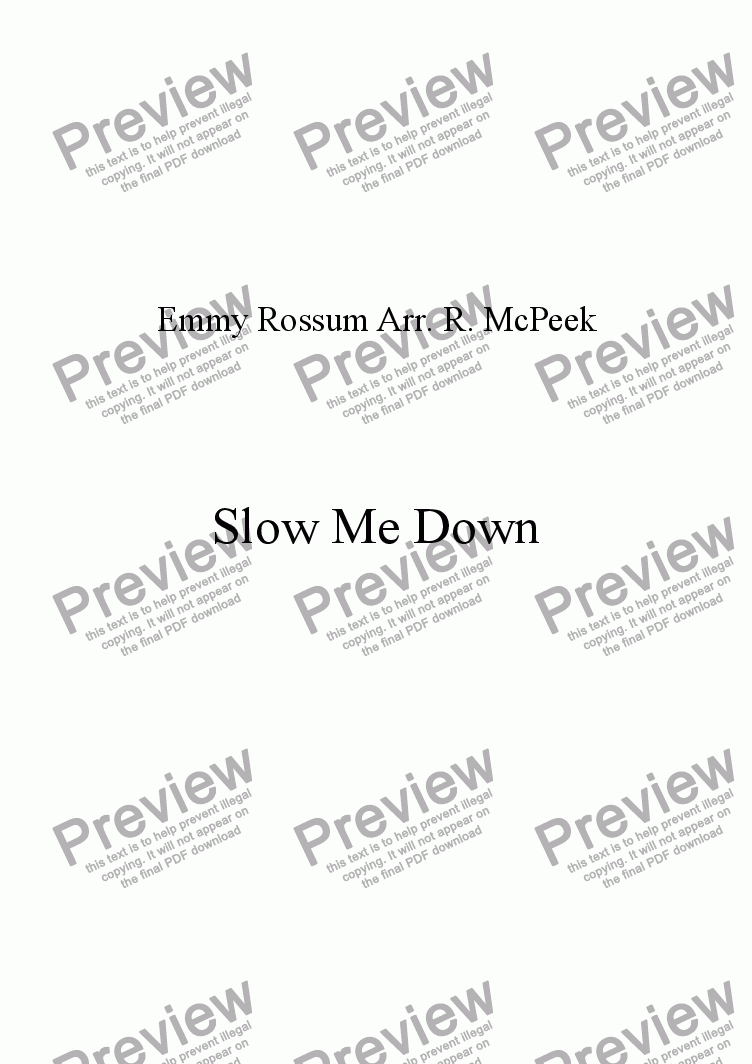 page one of Slow Me Down