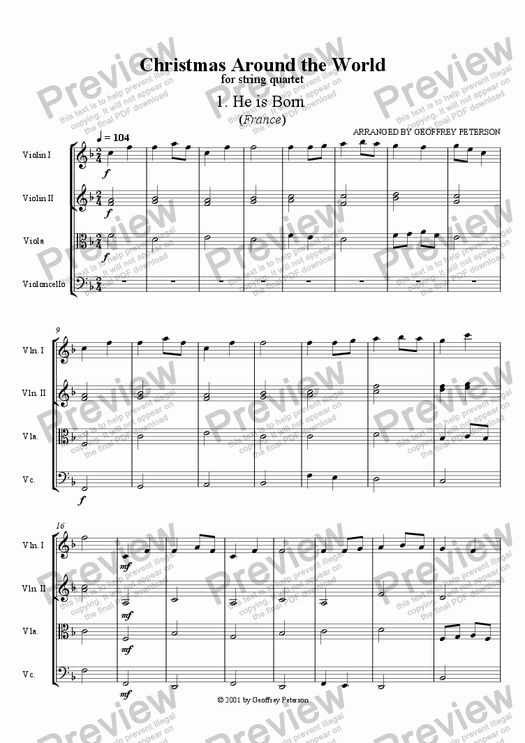 page one of Christmas Around the World - String Quartet