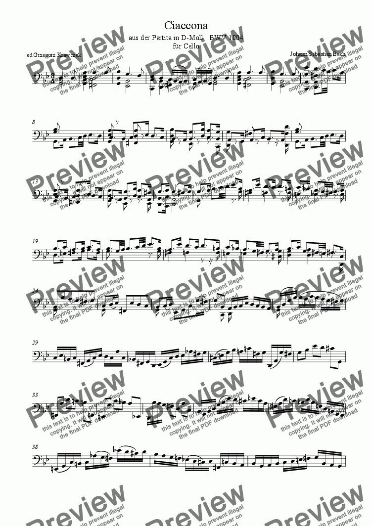 page one of Chaconne for Cello from Partita D minor