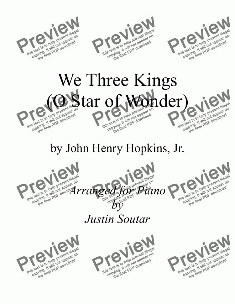 page one of We Three Kings (O Star of Wonder)