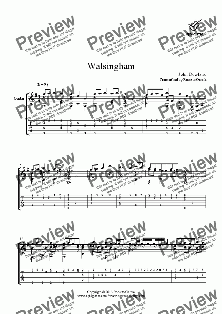 page one of Walsingham for solo guitar