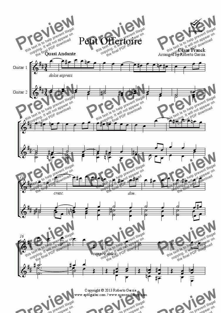 page one of Petit Offertoire for guitar duet
