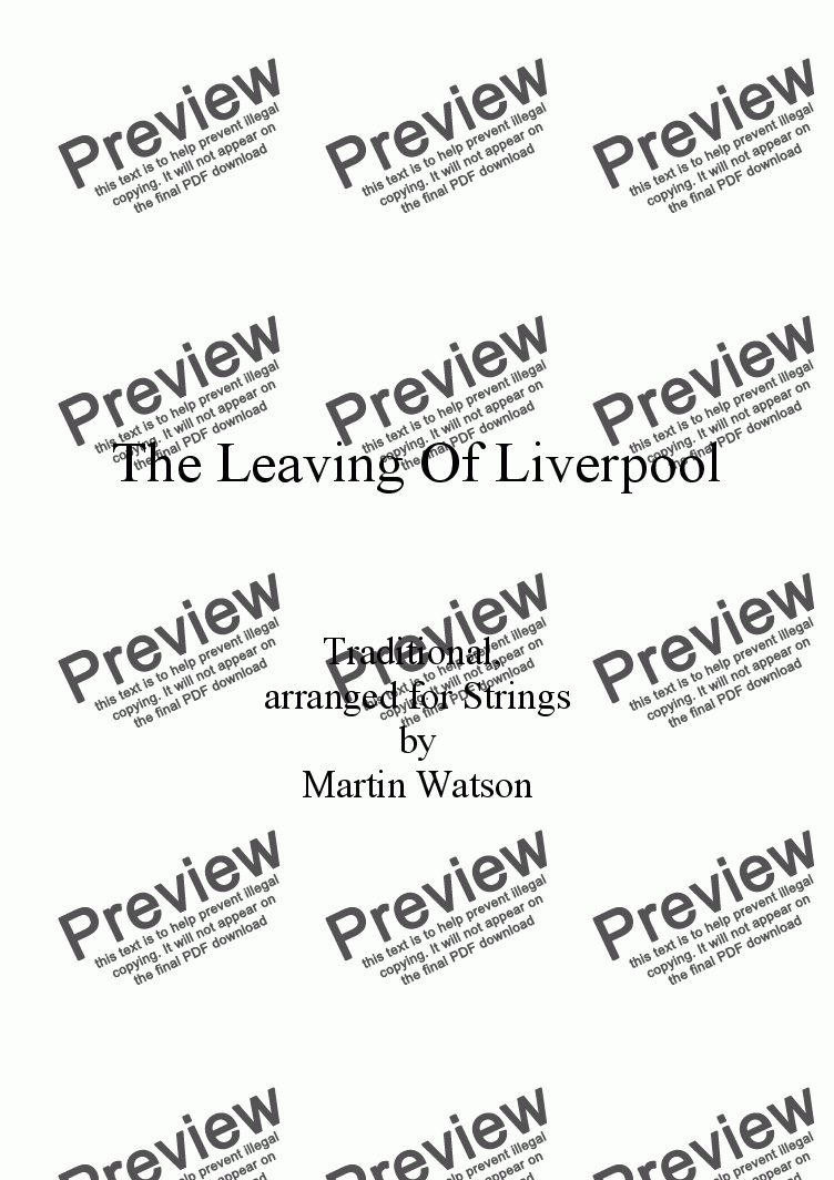page one of The Leaving Of Liverpool for String Orchestra/Quartet.ASALTTEXT
