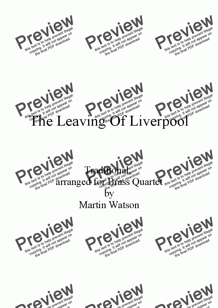 page one of The Leaving Of Liverpool for Brass Quartet