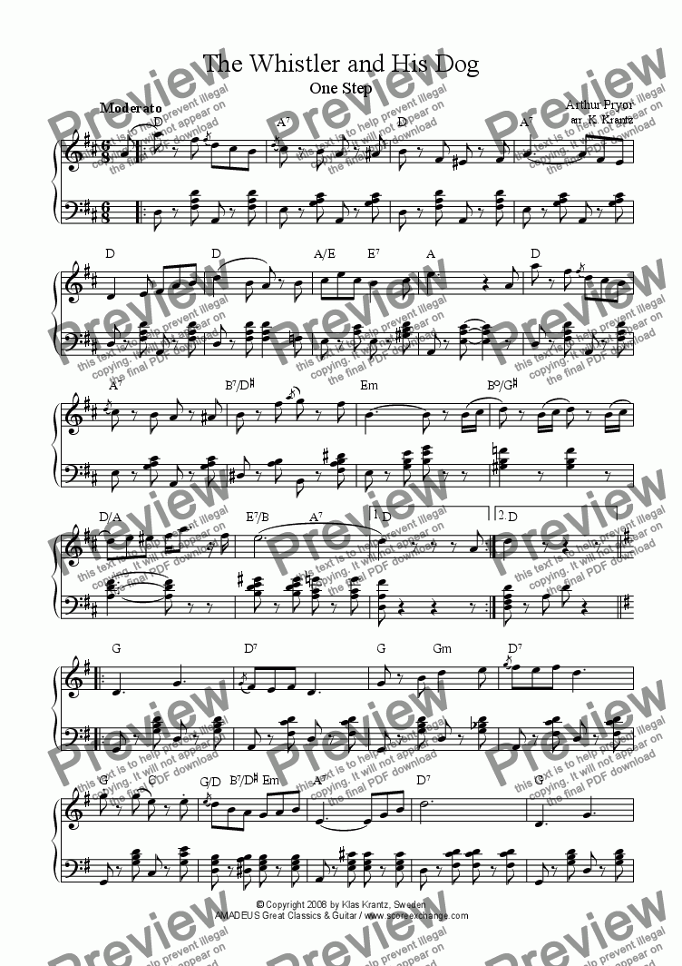 page one of The Whistler and His Dog for easy piano solo