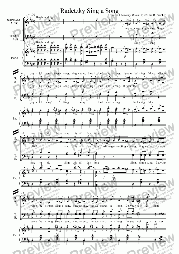 page one of Radetzky Sing a Song