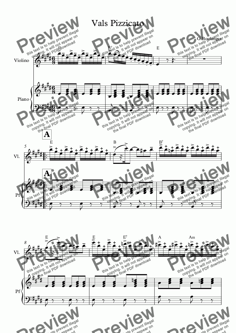 Vals Pizzicato For Solo Solo Violin Piano By Gboulanger Sheet Music Pdf File To Download