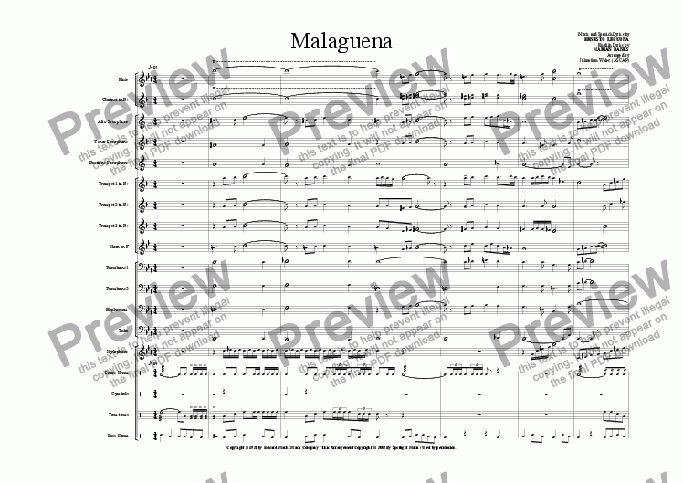 Malaguena for Marching band by Ernesto Lecuona - Sheet Music PDF file to  download