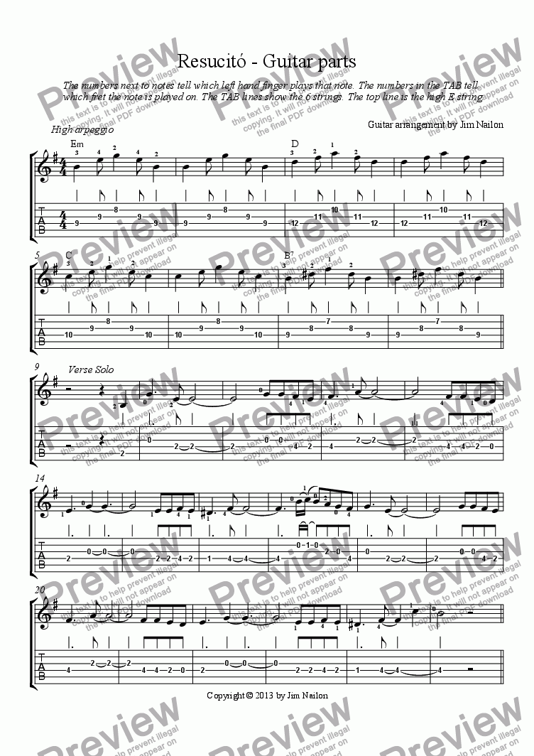 Resucitó - Guitar parts for Sextet of Classical Guitar, standard tunings  [tab] by Guitar arrangement by Jim Nailon - Sheet Music PDF file to download