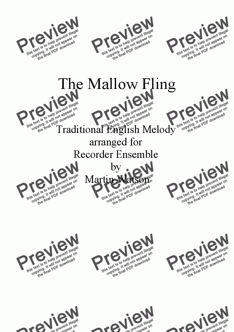 page one of The Mallow Fling for Recorder Ensemble