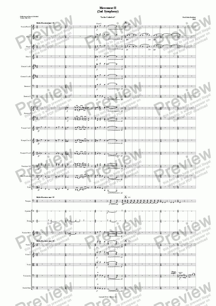 "page one of Symphony #2 Mvt. II ""In the Cathedral"""