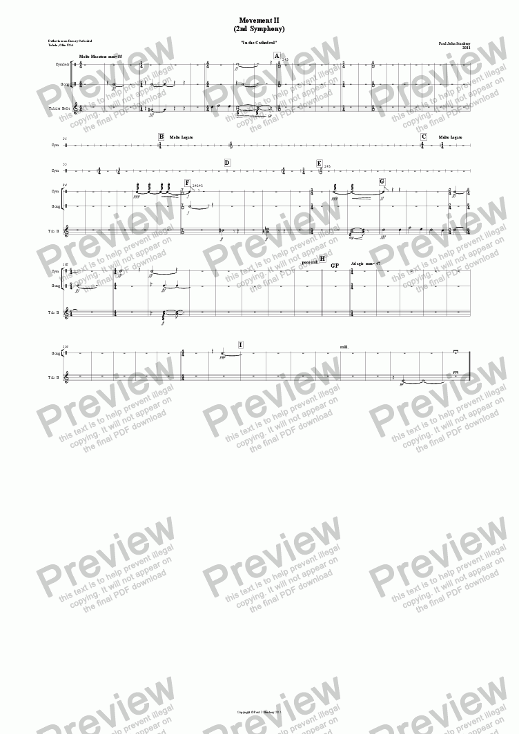 page one of Symphony #2 Mvt. II (Perc-combined)