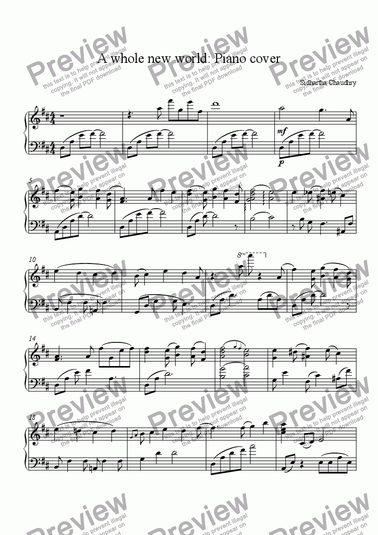 A whole new world: Piano cover for Solo instrument (Piano) by Sidhartha  Chaudhry - Sheet Music PDF file to download