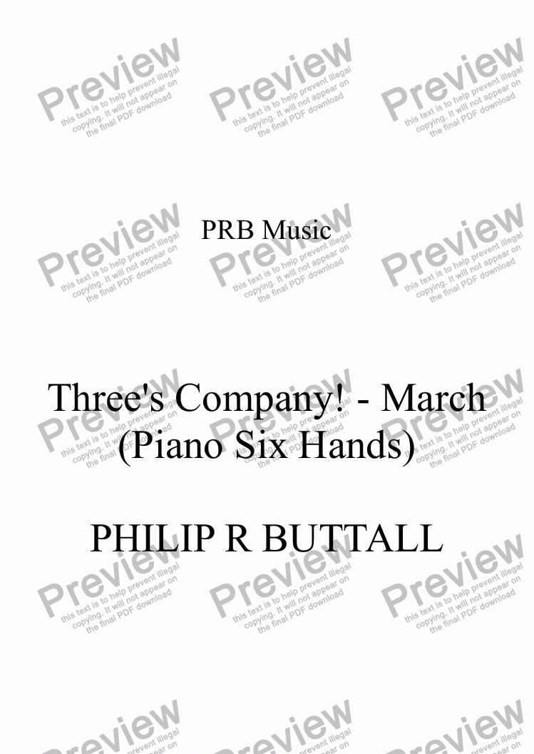 page one of Three's Company! March - Novelty Trio (Six Hands)
