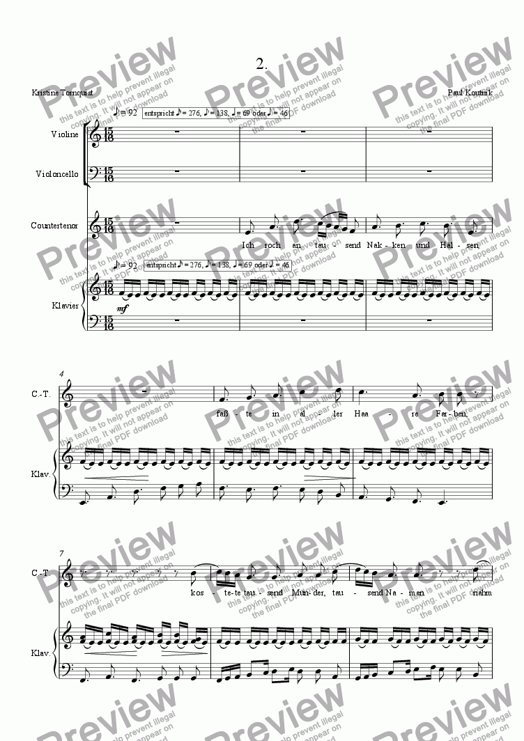 page one of Lieder der Matrosen 2 for counter tenor and piano trio