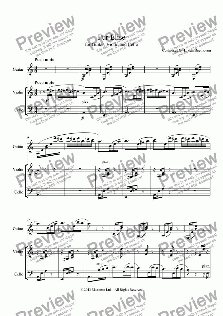 Für Elise - Guitar, Violin & Cello - Download Sheet Music PDF file
