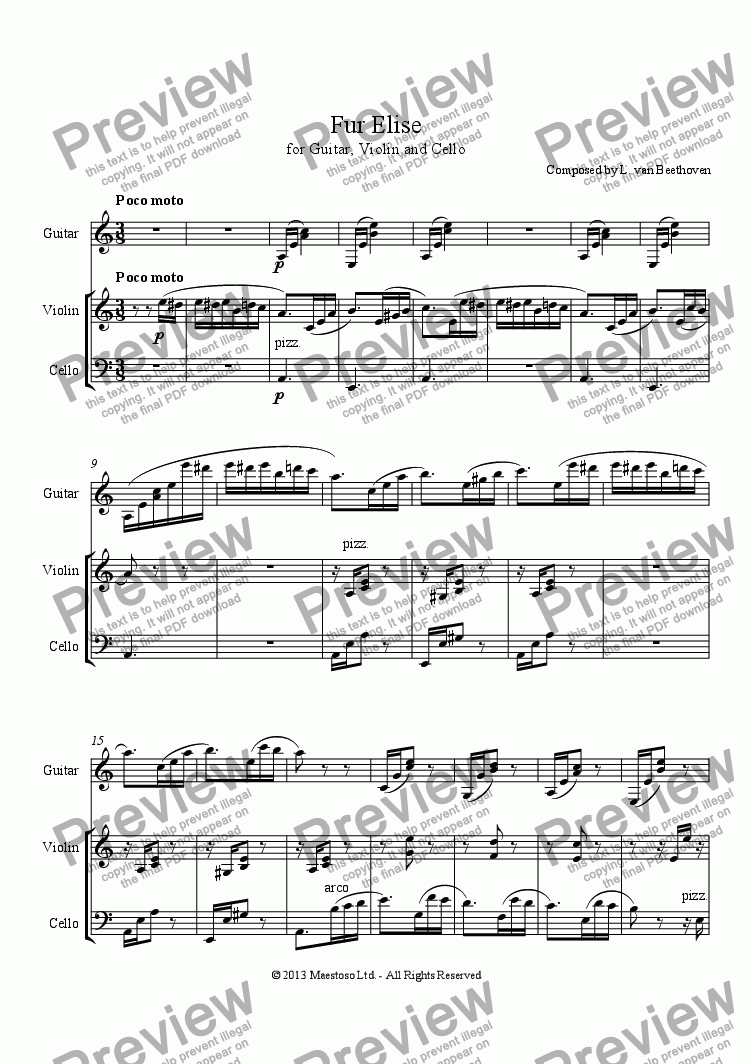 Für Elise Guitar Violin Cello For Trio By Composed By L Van Beethoven Sheet Music Pdf File To Download
