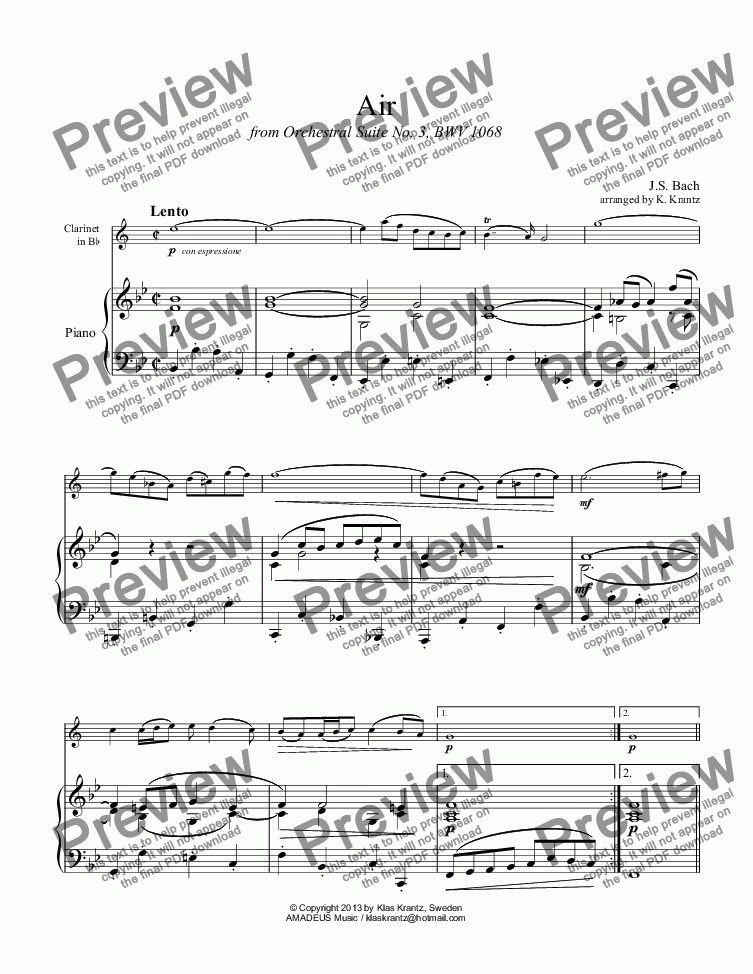 page one of Air from Orchestral Suite No. 3 for clarinet in Bb an pianoASALTTEXT