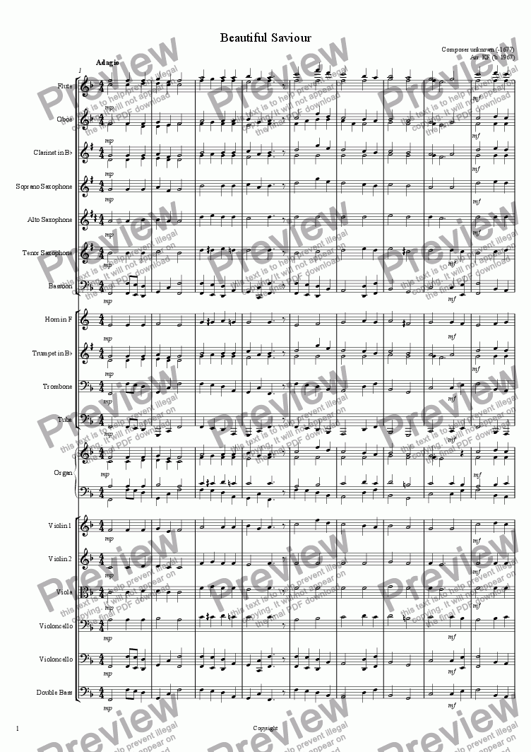 page one of Beautiful Saviour - Orchestra