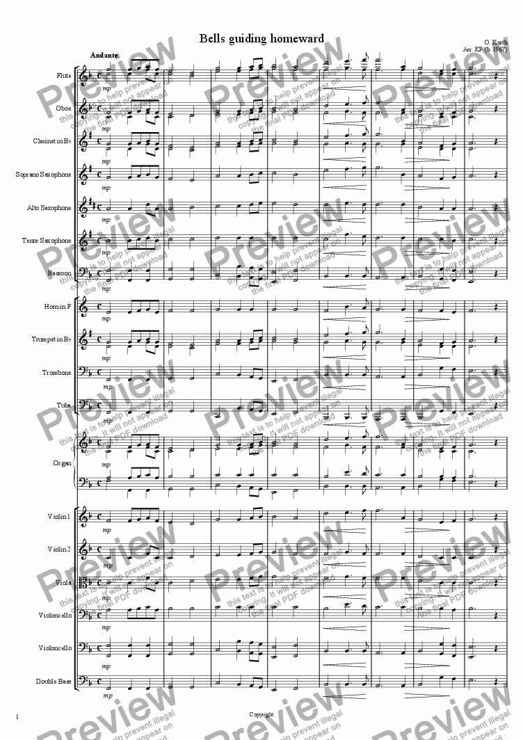 page one of Bells guiding homeward - Orchestra