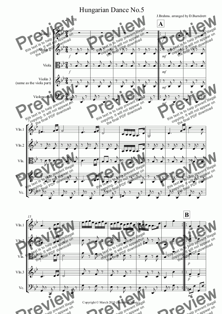 page one of Hungarian Dance No.5 for String QuartetASALTTEXT