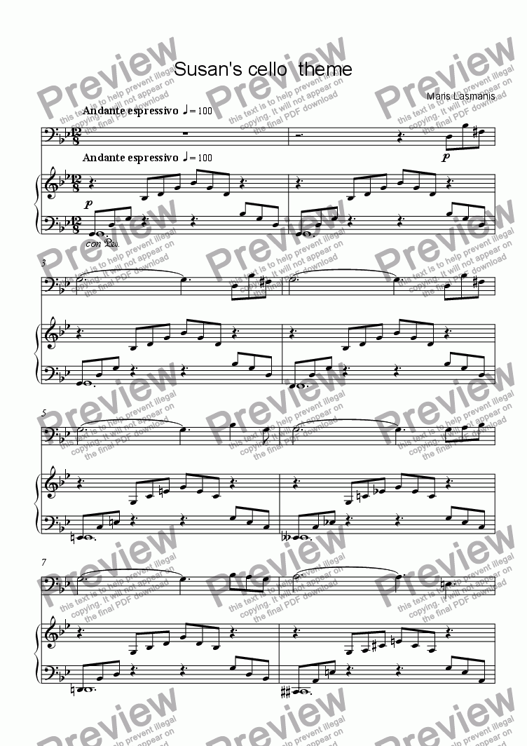 page one of Susan's cello  themeASALTTEXT