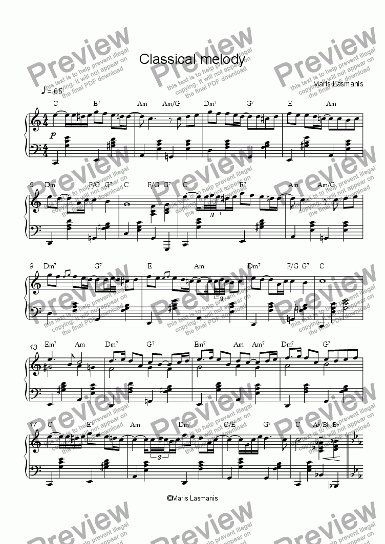 page one of Classical melody