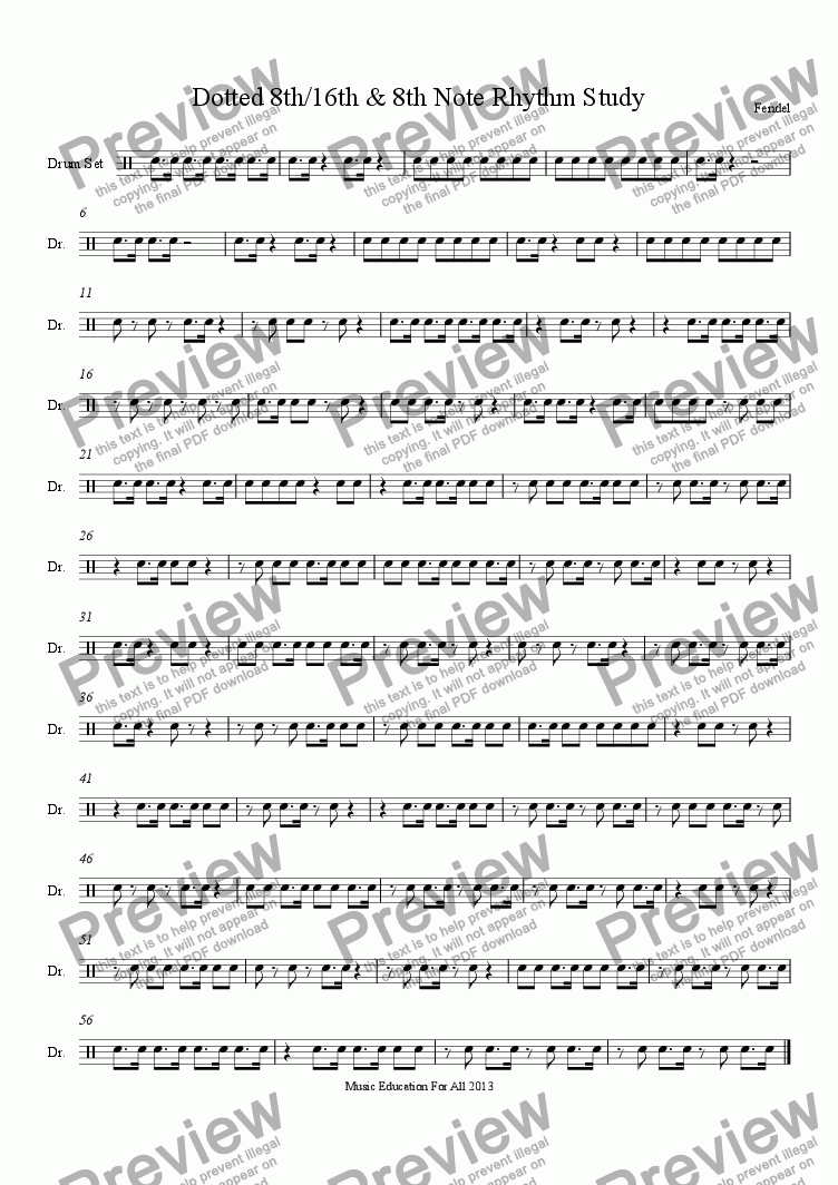 page one of Dotted 8th/16th & 8th Note Rhythm Study