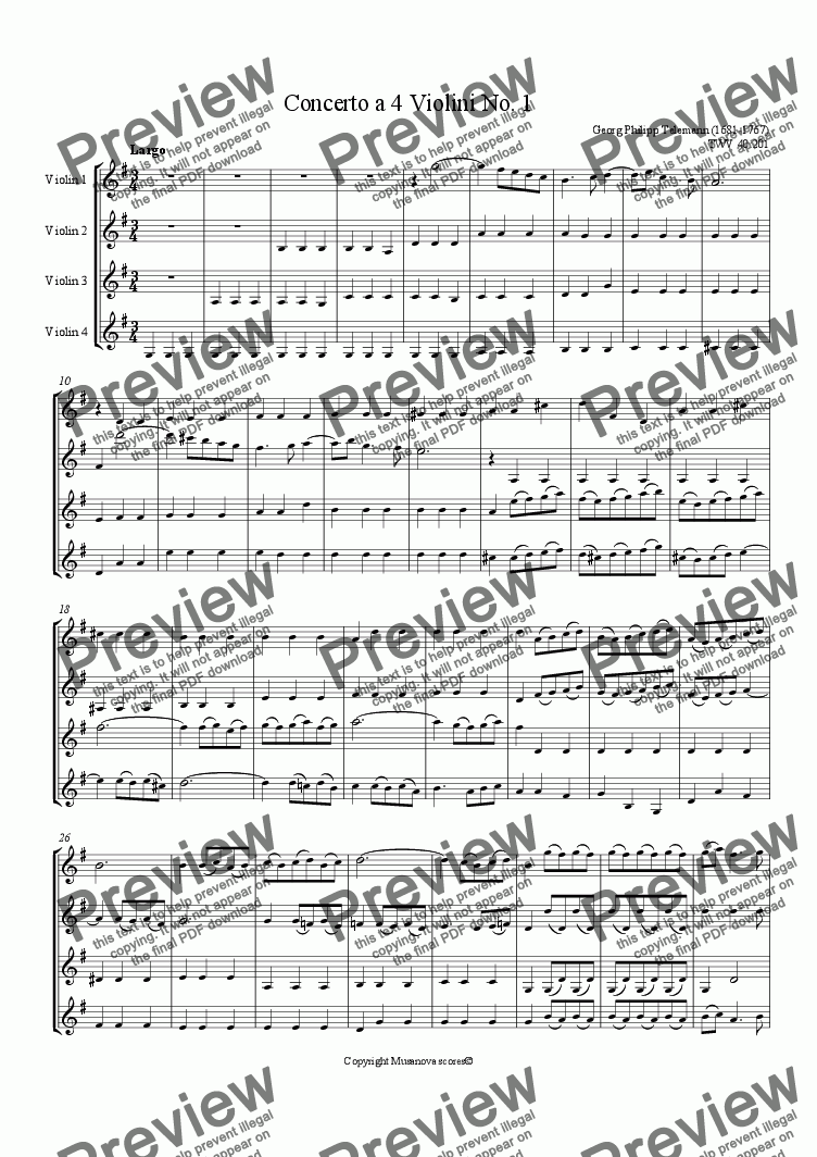 page one of Concerto a 4 Violini No. 1