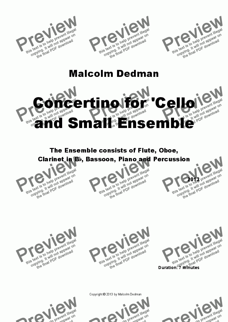 page one of Concertino for 'Cello and Small Ensemble