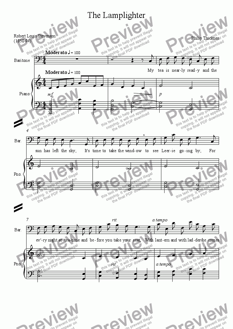 page one of The Lamplighter (Baritone & piano)