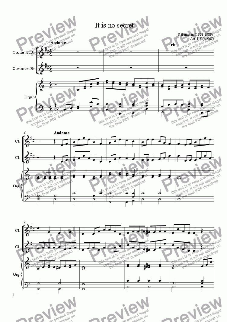 page one of It is no secret - 2 Clarinets & organ