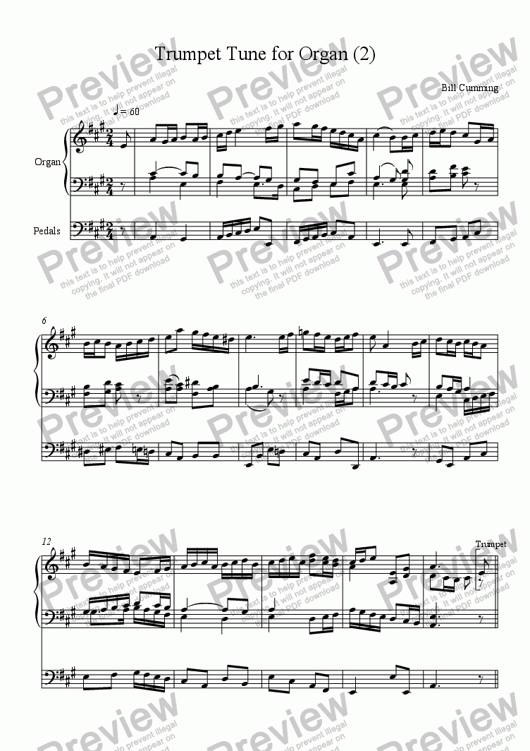 page one of Trumpet Tune for Organ (2)