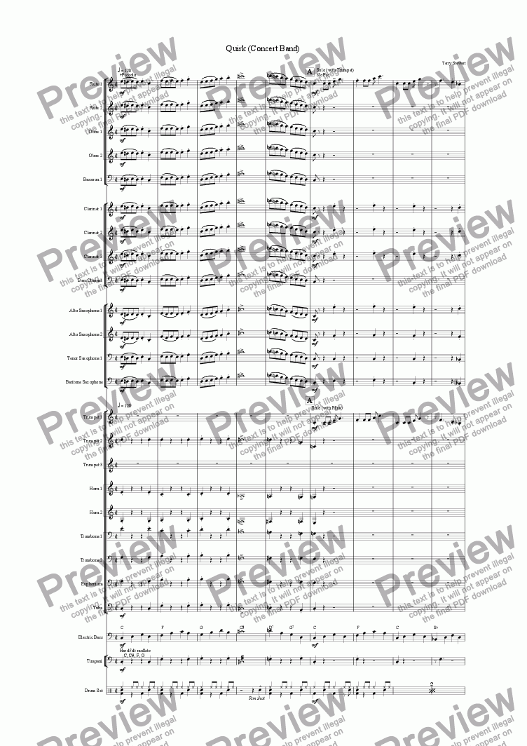 page one of Quirk (Concert Band)ASALTTEXT