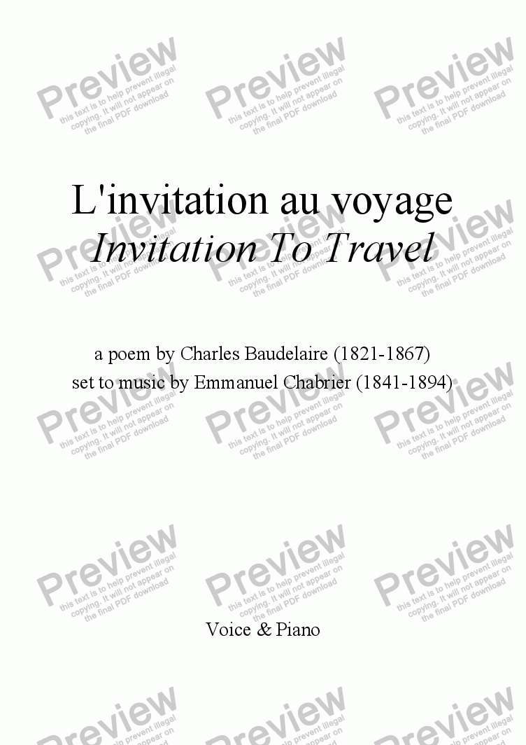 Linvitation au voyage chabrier baudelaire sheet music pdf file which method of viewing music should i use stopboris Gallery