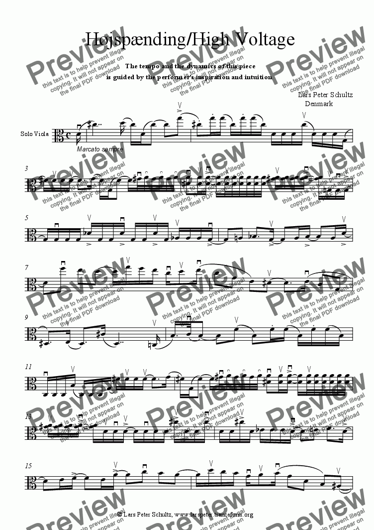 page one of Højspænding / High Voltage for Viola