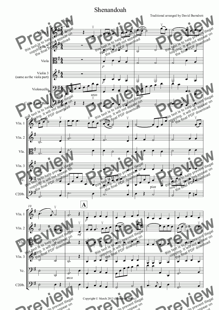 page one of Shenandoah for String Orchestra
