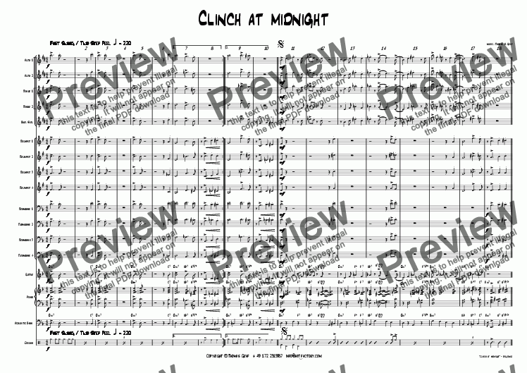 page one of Clinch at midnight - Big Band