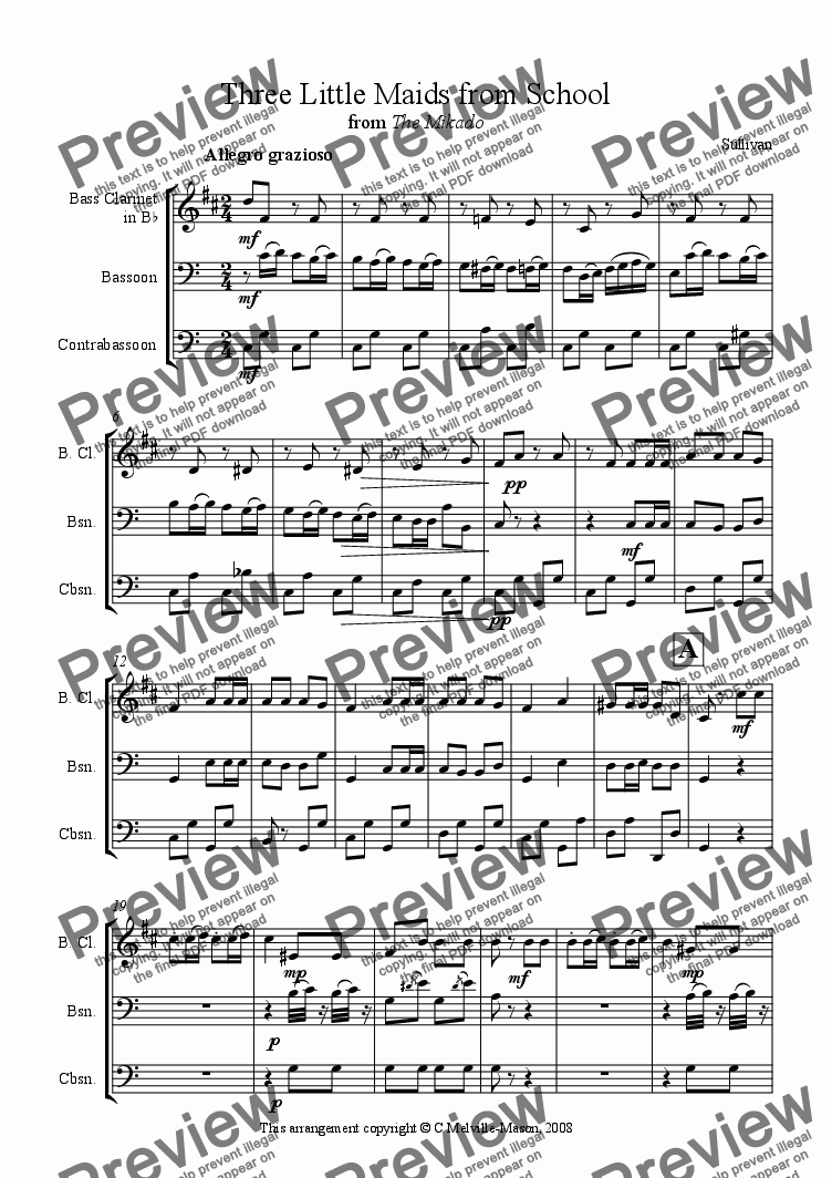 page one of Three Little Maids from School (bass clarinet, bassoon & contrabassoon trio)ASALTTEXT