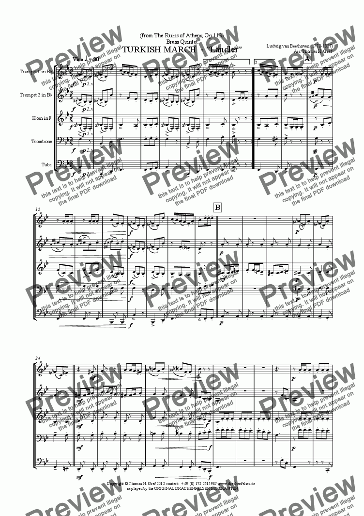 "page one of Beethoven TURKISH MARCH  - ""Ländler"" - Brass Quintet"