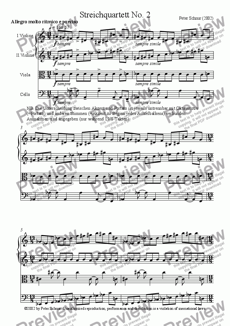 page one of Stringquartet No. 2
