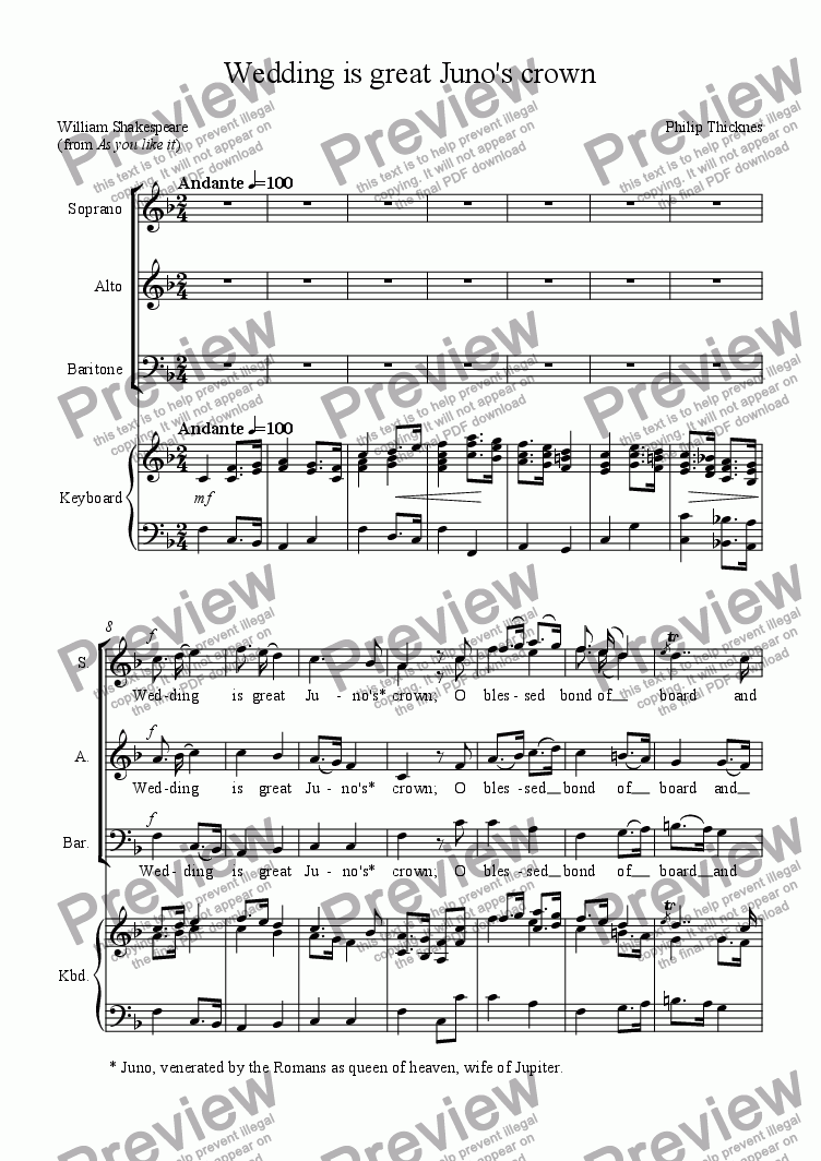 page one of Wedding is great Juno's crown (SABar. & piano)